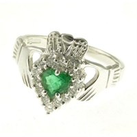 14k White Gold Diamond and Emerald Claddagh Ring