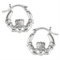 Image for Sterling Silver Claddagh Creole Earrings, Small