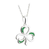 Image for Sterling Silver and Gemstone Shamrock Pendant