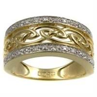 Image for 14K Yellow Gold Diamond Set Celtic Ring