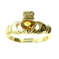 Image for 14k Yellow Gold Topaz Claddagh Ring