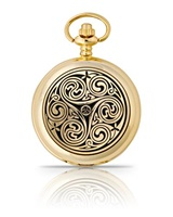 Image for Gold Plated Triple Swirl Pocket Watch