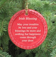 Image for Parchment Irish Blessing Ornament, Red
