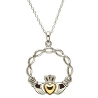 Image for Sterling Silver Celtic Wave Claddagh Pendant