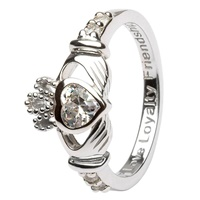 Silver Claddagh Birthstone Rings, April