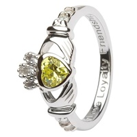 Silver Claddagh Birthstone Rings, August