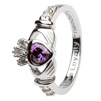 Silver Claddagh Birthstone Rings, February