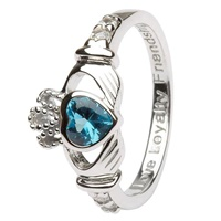 Silver Claddagh Birthstone Rings, December