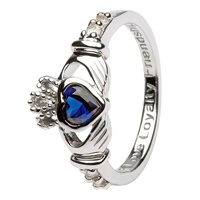 Silver Claddagh Birthstone Rings, September