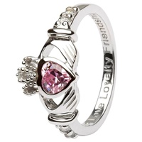 Silver Claddagh Birthstone Rings, October