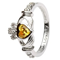 Silver Claddagh Birthstone Rings, November