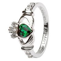 Silver Claddagh Birthstone Rings, May