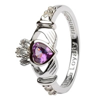 Silver Claddagh Birthstone Rings, June