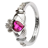 Silver Claddagh Birthstone Rings, July