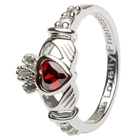 Silver Claddagh Birthstone Rings, January