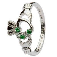 Image for Sterling and Green Cubic Zirconium Claddagh Ring