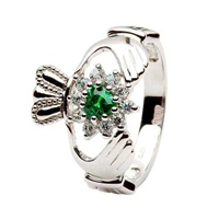 Image for Sterling Silver Retro Cluster Claddagh Ring
