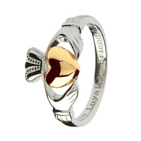 Image for Gold Heart and Sterling Silver Claddagh Ring