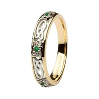 Image for 14Kt Yellow Gold Diamond and Emerald Wedding Ring
