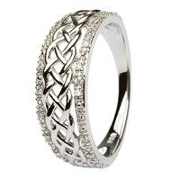 Image for 14K White Gold Ladies Celtic Knot Diamond Ring