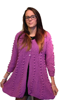 Image for Hand Knit Irish Linen Cotton Swing Sweater, Fushia