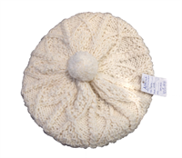Image for Aran Knit Wool Ladies Baret with Pom, Winter White
