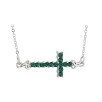 Image for Rhodium Green Crystal Sideway Cross Pendant