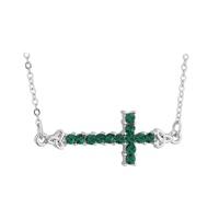Image for Rhodium Green Crystal Sideway Cross Pendant