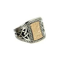 Image for Keith Jack Sterling Silver and 10K 20mm Celtic Signet Ring