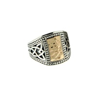 Image for Sterling Silver and 10K Yellow Gold Hammered Celtic Signet Tapered Ring