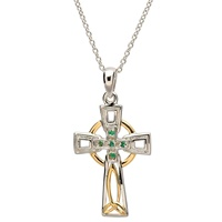 Image for Sterling Silver Celtic Trinity Emerald and Diamond Cross