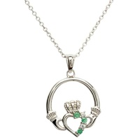 Image for Claddagh Pave Set Silver Pendant