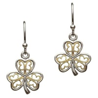 Image for Sterling Silver Filigree Shamrock Earrings