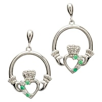 Image for Claddagh Stone Set Silver Earrings