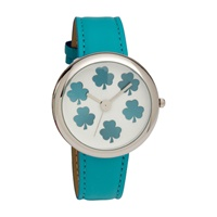 Image for Shamrock Aqua Leather Band Watch