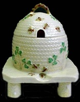 Image for Belleek Shamrock Honey Pot