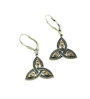 Image for 10K Yellow Gold and Sterling Silver CZ Trinity Knot Earrings