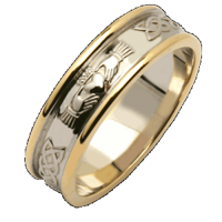 Image for Ladies Two Tone Corrib Claddagh Wedding Ring