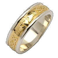 Image for Ladies Two Tone Corrib Claddagh Wedding Band