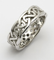 Image for Ladies 10K White Gold Sheelin Medium Pierced Celtic Wedding Band