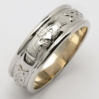 Image for Ladies 14K White Gold Wide Corrib Claddagh Wedding Band