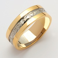 Image for Mens 14K Two-Toned Claddagh Corrib Band With High Profile Sides