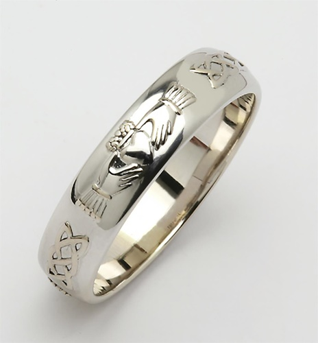 Domed Corrib Claddagh Celtic Wedding Band