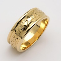 Image for Mens 14K Yellow Gold Wide Corrib Claddagh Wedding Band