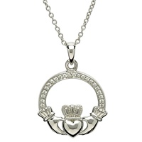 Image for Sterling Silver Stone Set Claddagh Pendant