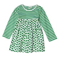 Image for Girls Shamrock and Striped Design Dress, Green/White