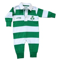 Image for Shamrock Badge Rugby Style Baby Romper, Green/White