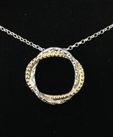 Image for Sterling Silver and Gold Rope Twist Circle Pendant