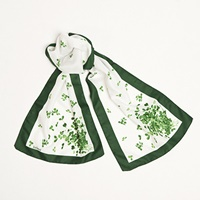 Image for Shamrock Sprig Long Celtic Scarves, White