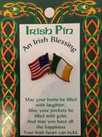 Image for American and Irish Cross Flag Pin